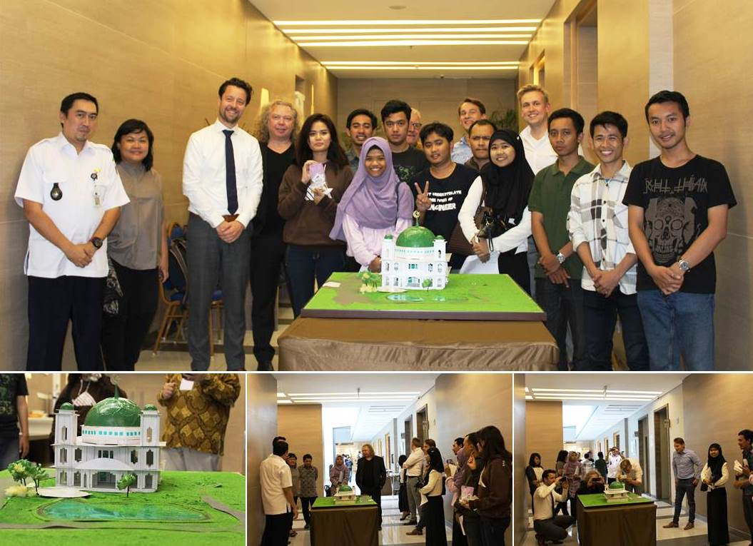 "Pembuatan maket kawasan ""Masjid Darul Jannah Mosque with Water Square"" Kerjasama Program Studi Perencanaan Wilayah dan Kota, Fakultas Teknik, Universitas Esa Unggul dan University of Rotterdam Applied Science"