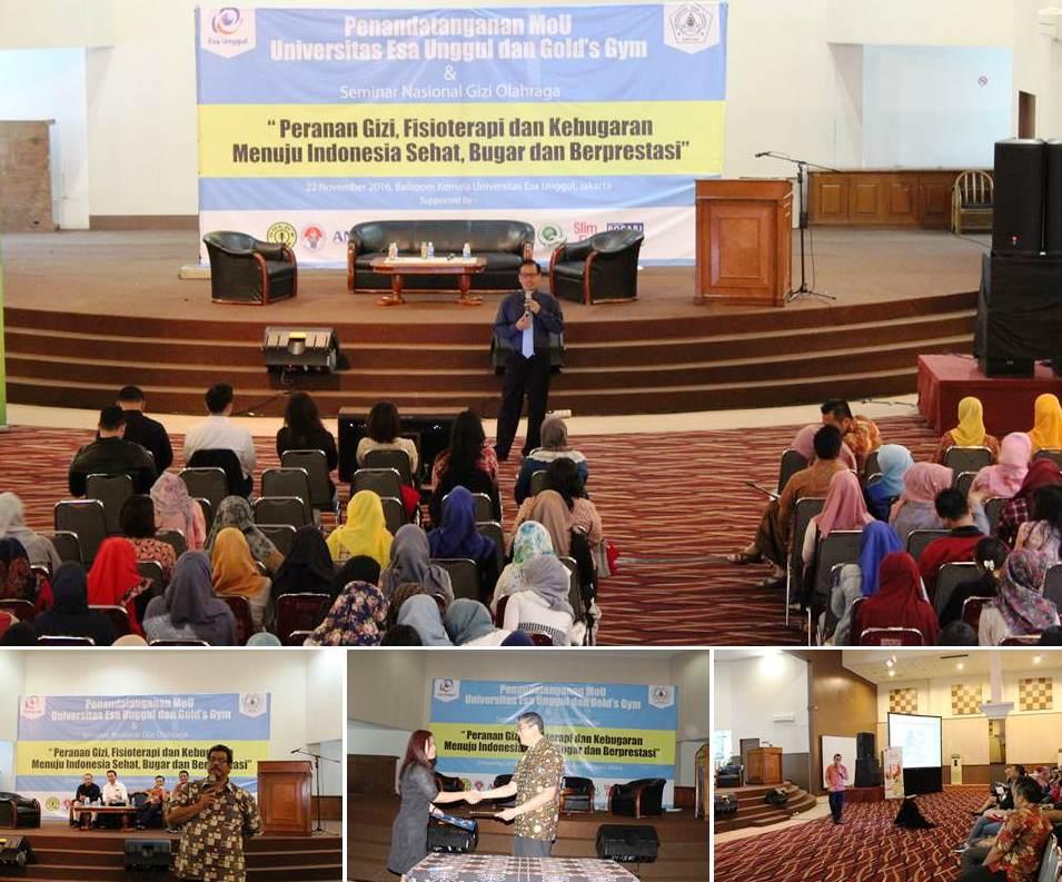 """Prodi Ilmu Gizi Universitas Esa Unggul Gelar Seminar """"Peranan Gizi, Fisioterapis dan Kebugaran Menuju Indonesia yang Sehat Bugar dan Berprestasi"""""""
