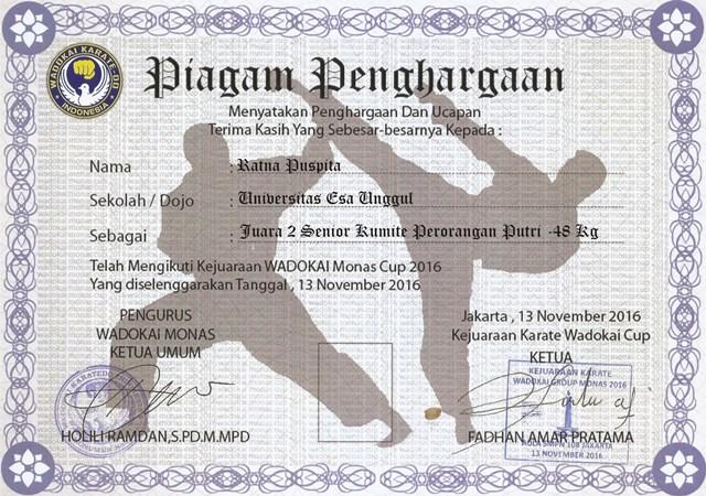 Piagam 1 UKM Karate Universitas Esa Unggul