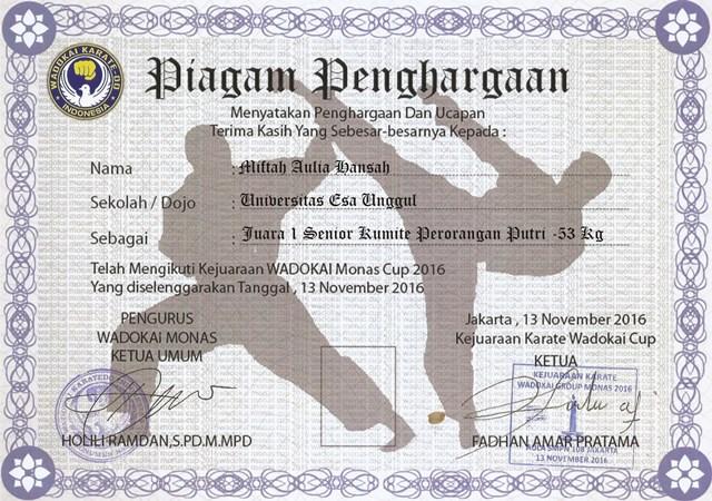 Piagam 2 UKM Karate Universitas Esa Unggul