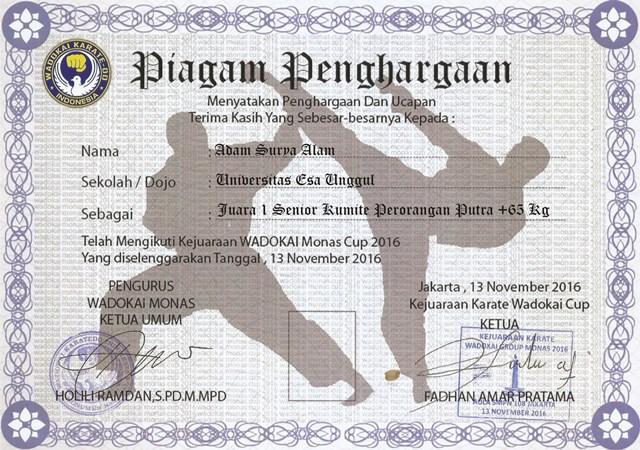 Piagam 3  UKM Karate Universitas Esa Unggul
