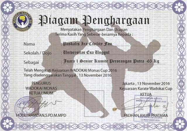 Piagam 4 UKM Karate Universitas Esa Unggul