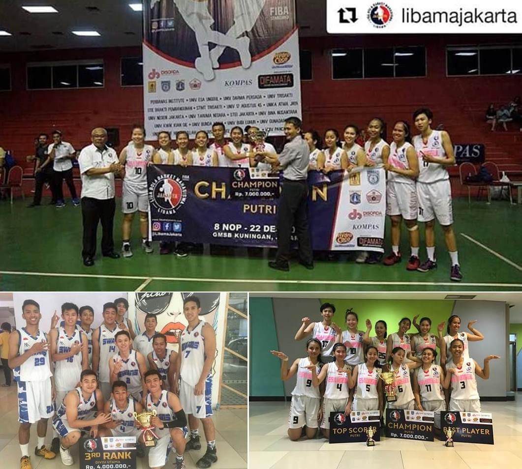 Tim Basket Universitas Esa Unggul (The Swans) Borong Gelar Libama DKI 2016