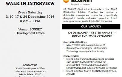 Lowongan Kerja PT BOSNET Distribution Indonesia