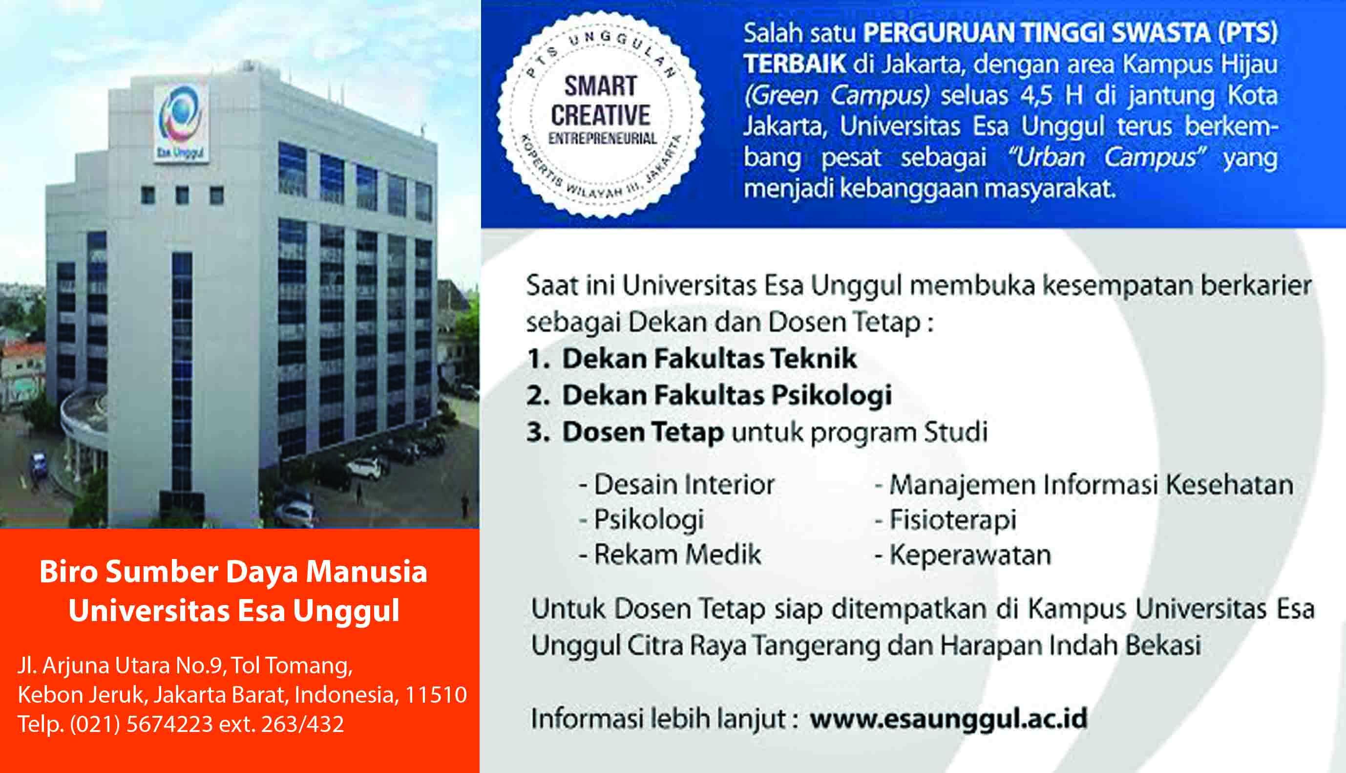 Universitas Esa Unggul Mengundang dan Membuka Kesempatan Sebagai Dekan dan Dosen Tetap