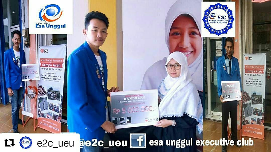 E2C Universitas Esa Unggul Salurkan Bantuan Bencana Gempa Aceh