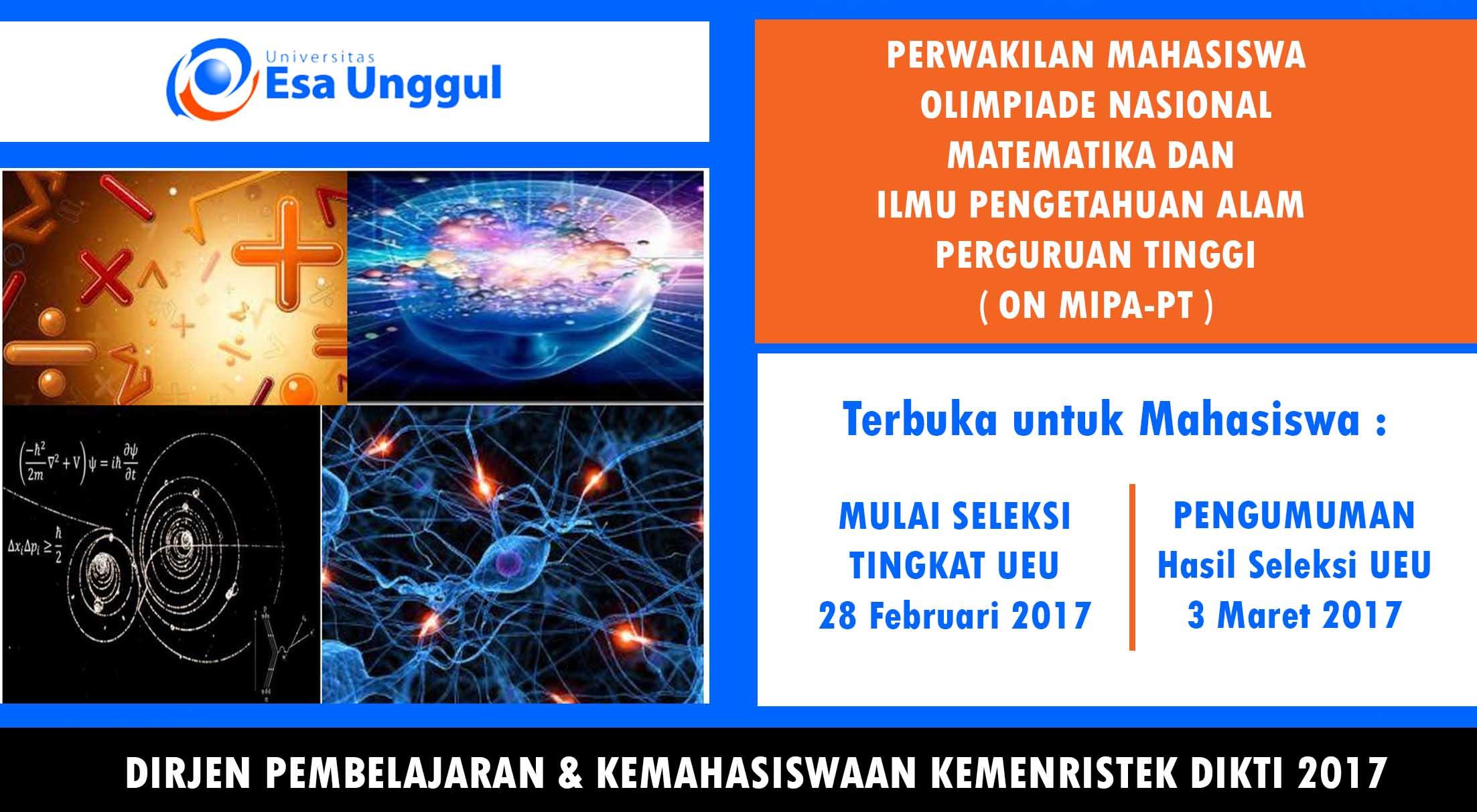 Lomba Olimpiade Nasional Matematika dan Ilmu Pengetahuan Alam Perguruan Tinggi 2017 Tingkat Universitas Esa Unggul