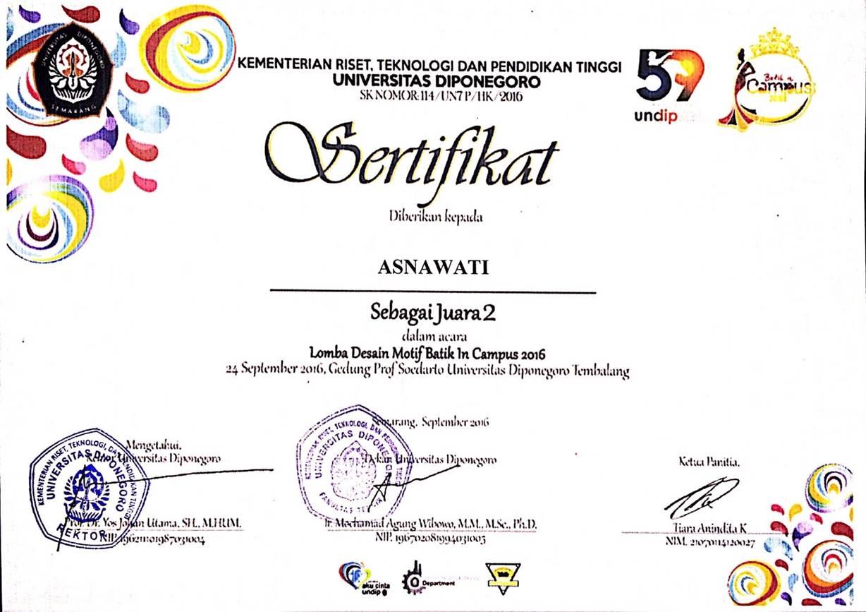 Selamat Kepada Asnwati Mahasiswa FDIK Meraih Juara 3 Lomba Desain Batik Tingkat Nasional