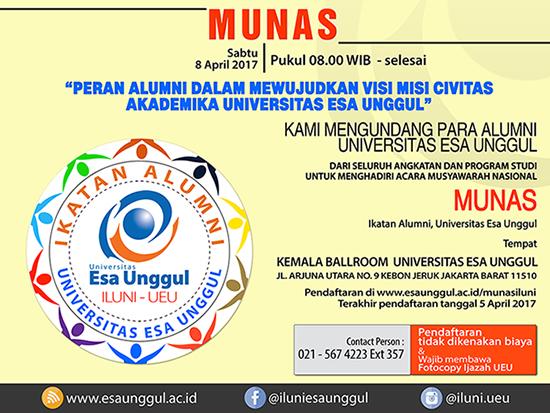 Pendaftaran MUNAS ILUNI Universitas Esa Unggul