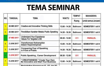 Jadwal Seminar Bulan Mei – Juni Mahasiswa Universitas Esa Unggul 2017