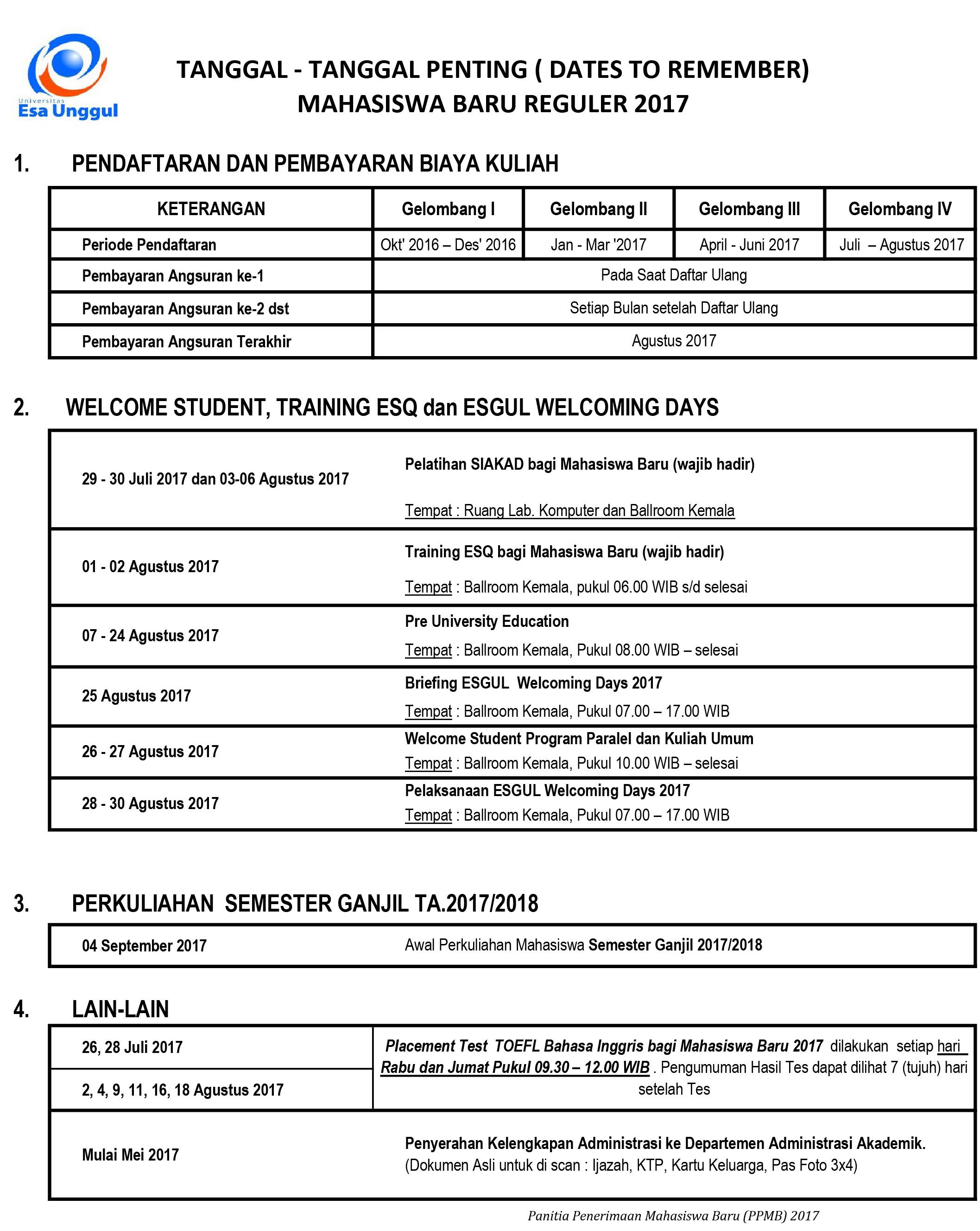 Jadwal Kegiatan Mahasiswa Baru dan TEST TOEFL Kelas Reguler 2017