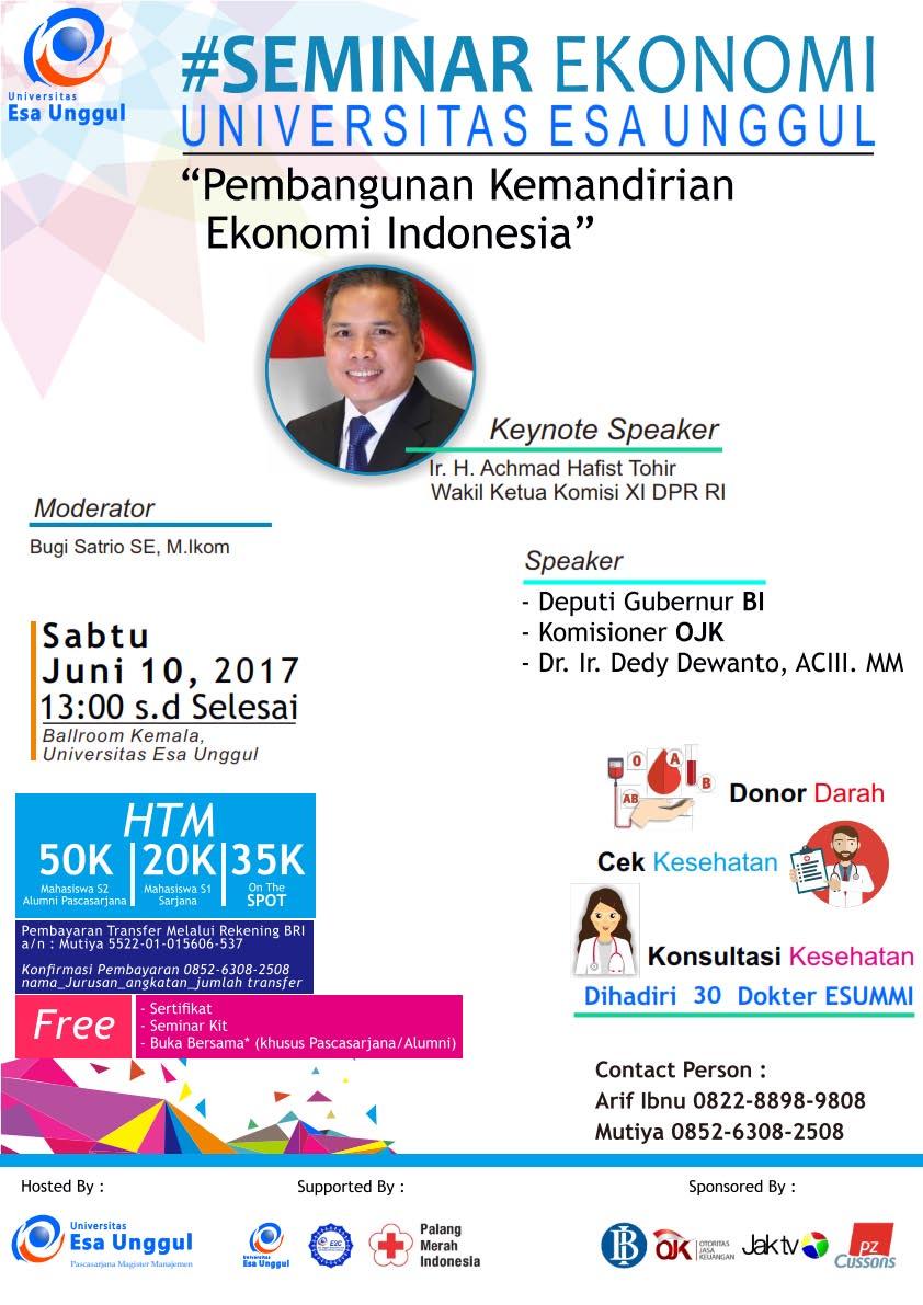"""Seminar Ekonomi """"Pembangunan Kemandirian Ekonomi Indonesia"""""""