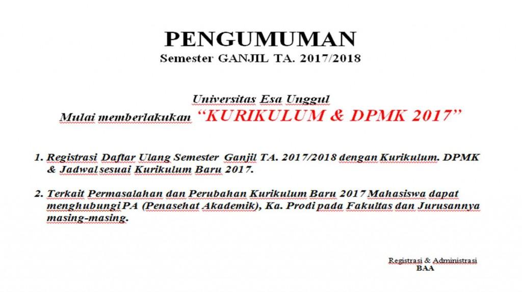 PENDAFTARAN ULANG 2017 & DPMK 2017