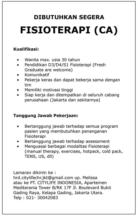 Lowongan Kerja Pt Citylife Indonesia Universitas Esa Unggul