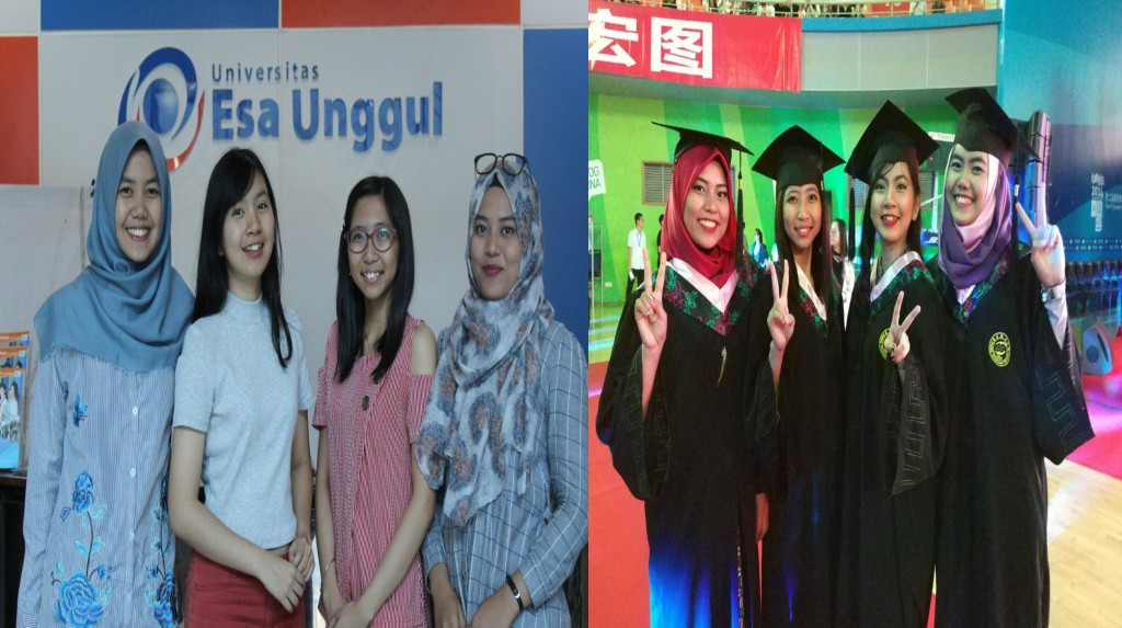 Empat mahasiswi yang menyelesaikan Program Double Degree di Nanjing XiaoZhuang University