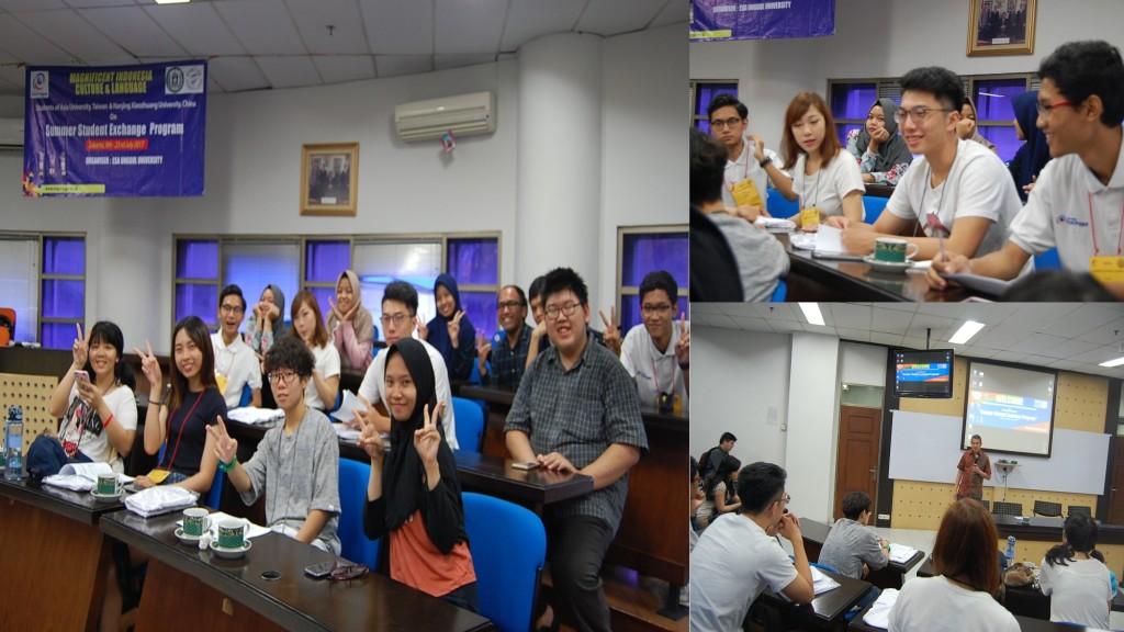 Perbincangan akrab Mahasiswa Asia University bersama Mahasiswa Esa Unggul