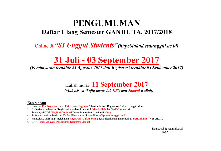 PENDAFTARAN ULANG 2017