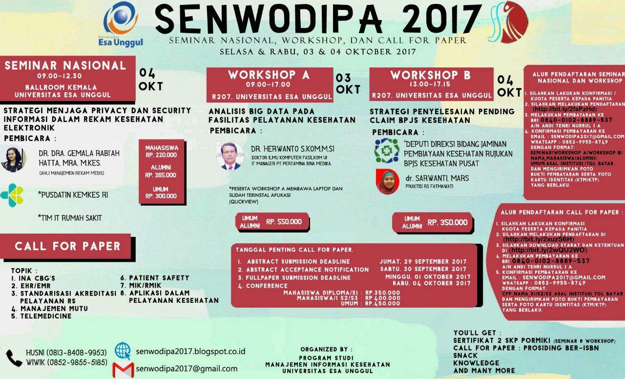 Program Studi Manajemen Informasi Kesehatan Proudly Present SENWODIPA 2017