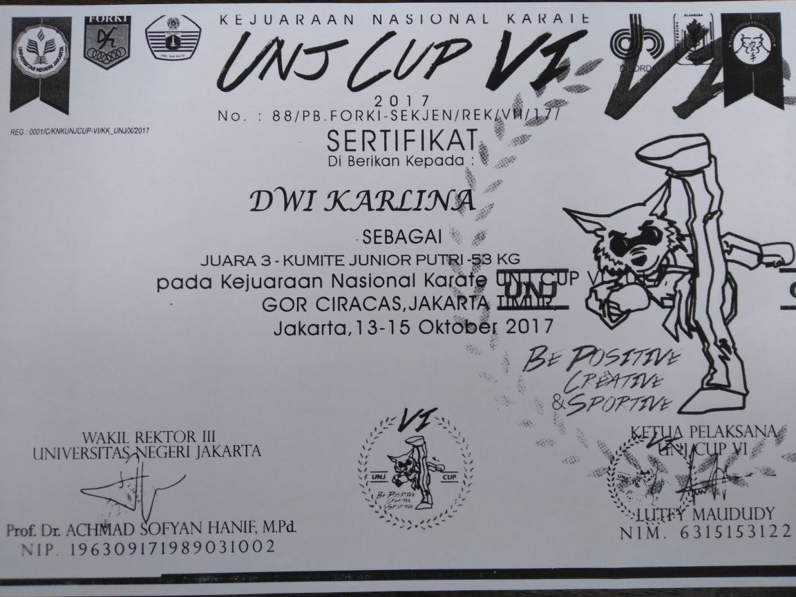 UKM Karate Universitas Esa Unggul Meraih Medali Perunggu dalam Kejuaraan Karate Nasional UNJ CUP VI Tahun 2017