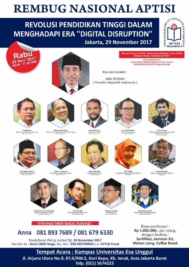 Esa Unggul Tuan Rumah Perhelatan Rembug nasional APTISI 2017