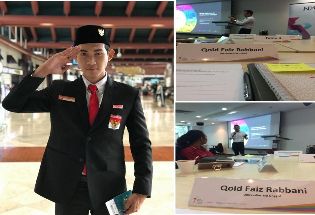 Mahasiswa Public Relation Esa Unggul Qoid Faiz Rabbani menjadi perwakilan Indonesia di ajang Singapore-Indonesia Youth Leadership Exchange Programme