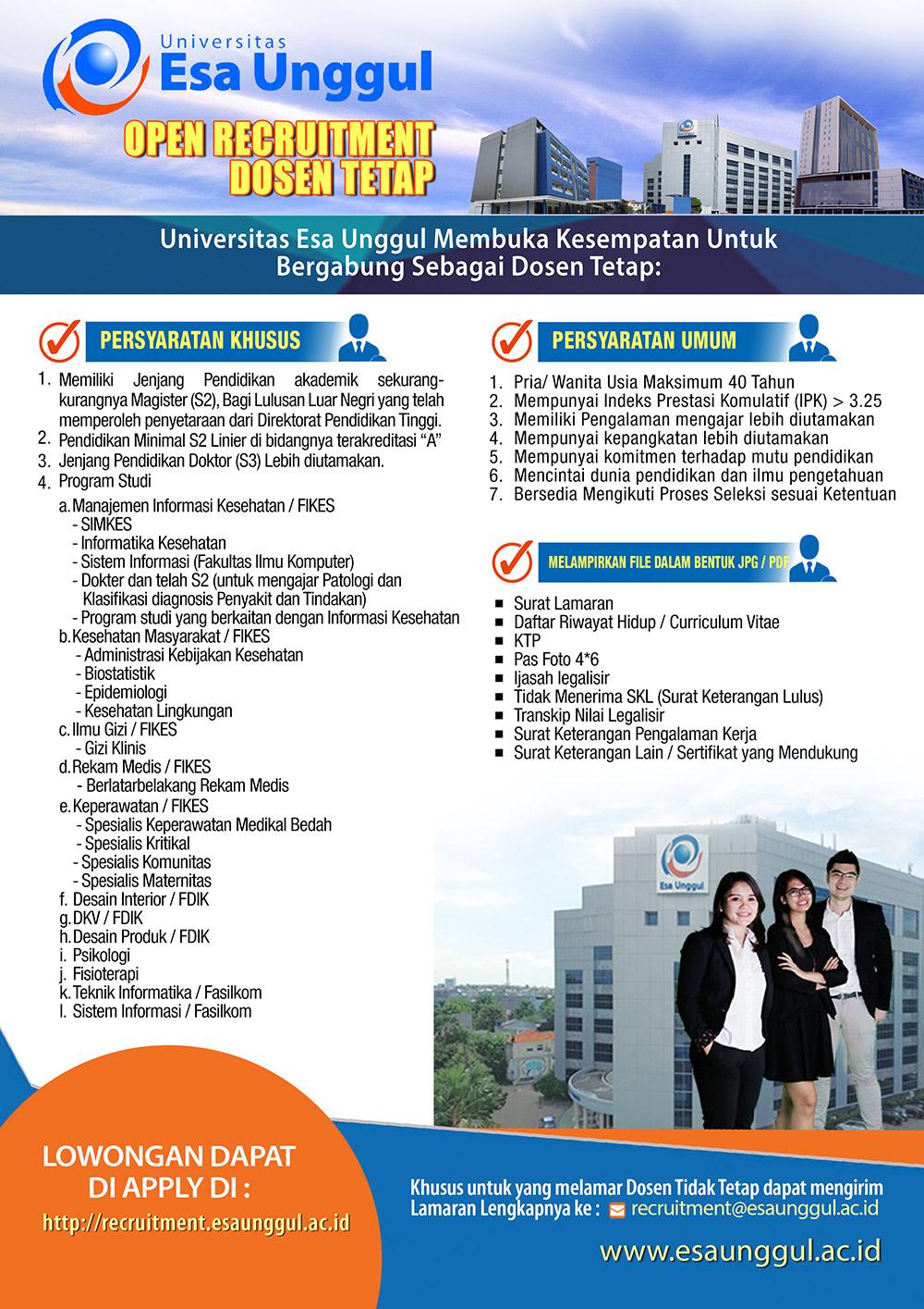 Lowongan Kerja Dosen Tetap Program S1 dan S2 Universitas Esa Unggul