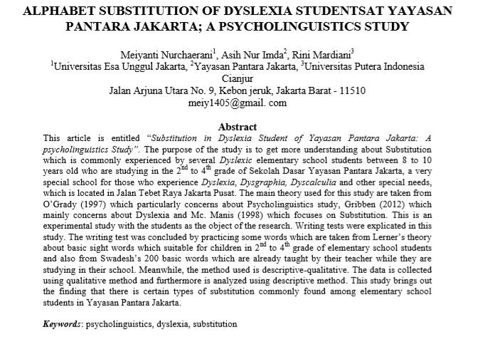 Alphabet Substitution Of Dyslexia Studentsat Yayasan Pantara Jakarta; A Psycholinguistics Study
