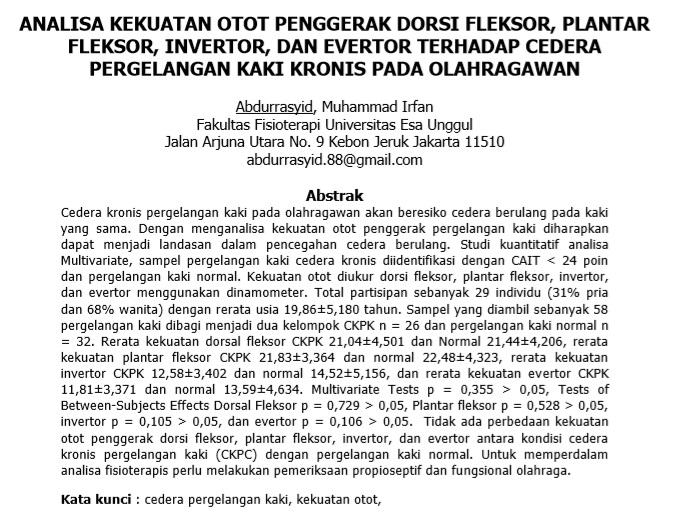 Analisa Kekuatan Otot Penggerak Dorsi Fleksor, Plantar Fleksor, Invertor, Dan Evertor Terhadap Cedera Pergelangan Kaki Kronis Pada Olahragawan