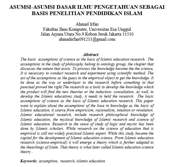 Asumsi-Asumsi Dasar Ilmu Pengetahuan Sebagai Basis Penelitian Pendidikan Islam