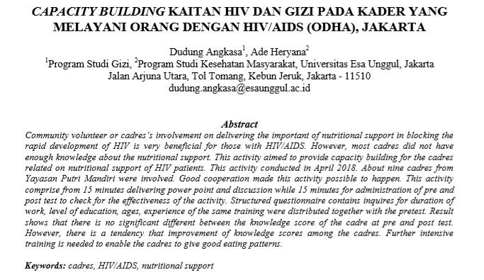 Capacity Building Kaitan HIV Dan Gizi Pada Kader Yang Melayani Orang Dengan HIVAIDS (Odha), Jakarta