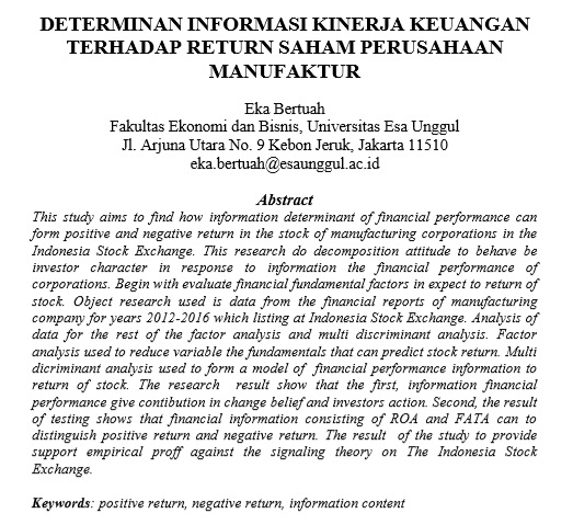 Determinan Informasi Kinerja Keuangan Terhadap Return Saham Perusahaan Manufaktur