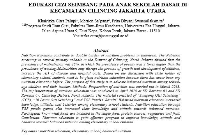 Edukasi Gizi Seimbang Pada Anak Sekolah Dasar Di Kecamatan Cilincing Jakarta Utara