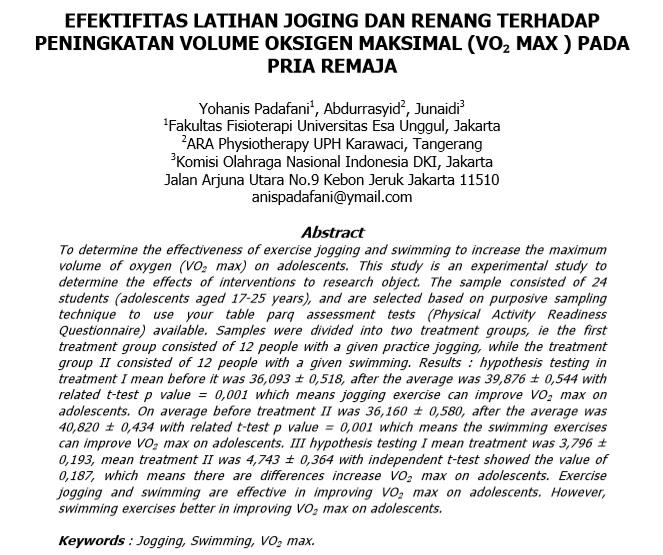 Efektifitas Latihan Joging Dan Renang Terhadap Peningkatan Volume Oksigen Maksimal (Vo₂ Max ) Pada Pria Remaja