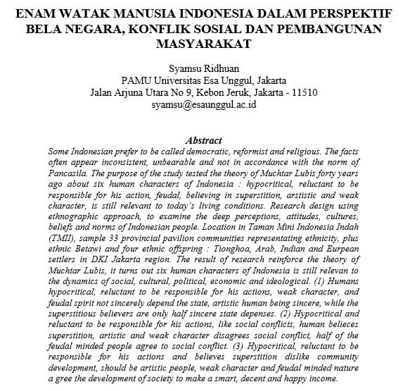Enam Watak Manusia Indonesia Dalam Perspektif Bela Negara, Konflik Sosial Dan Pembangunan Masyarakat