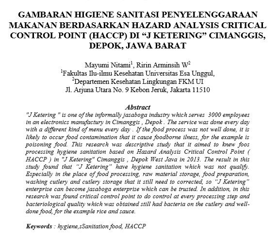 "Gambaran Higiene Sanitasi Penyelenggaraan Makanan Berdasarkan Hazard Analysis Critical Control Point (HACCP) di ""J Ketering"" Cimanggis, Depok, Jawa Barat"