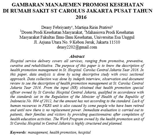 Gambaran Manajemen Promosi Kesehatan di Rumah Sakit ST Carolus Jakarta Pusat Tahun 2016