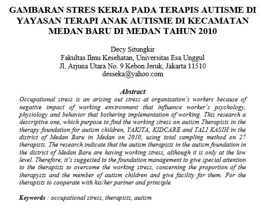 Gambaran Stres Kerja Pada Terapis Autisme Di Yayasan Terapi Anak Autisme Di Kecamatan Medan Baru Di Medan Tahun 2010