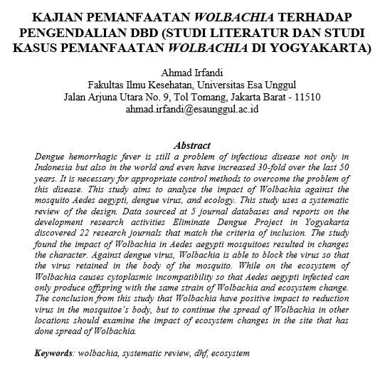 Kajian Pemanfaatan Wolbachia Terhadap Pengendalian DBD (Studi Literatur Dan Studi Kasus Pemanfaatan Wolbachia Di Yogyakarta)
