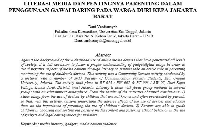 Literasi Media Dan Pentingnya Parenting Dalam Penggunaan Gawai Daring Pada Warga Duri Kepa Jakarta Barat