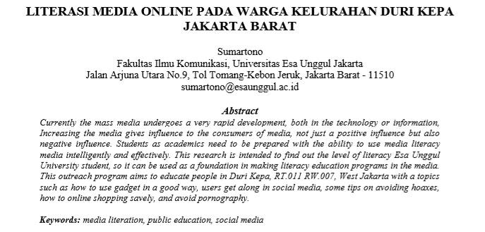 Literasi Media Online Pada Warga Kelurahan Duri Kepa Jakarta Barat