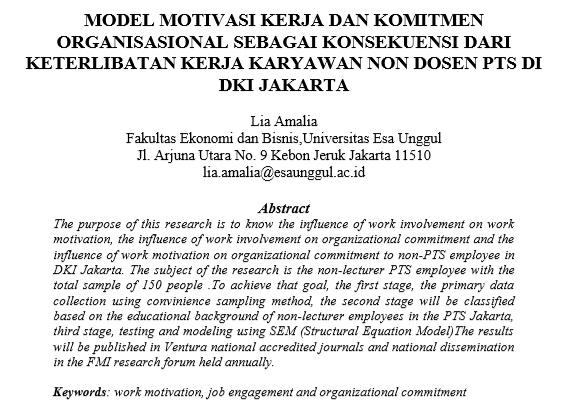Model Motivasi Kerja dan Komitmen Organisasional Sebagai Konsekuensi Dari Keterlibatan Kerja Karyawan Non Dosen PTS di DKI Jakarta