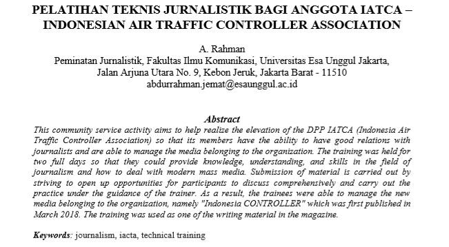 Pelatihan Teknis Jurnalistik Bagi Anggota IATCA – Indonesian Air Traffic Controller Association