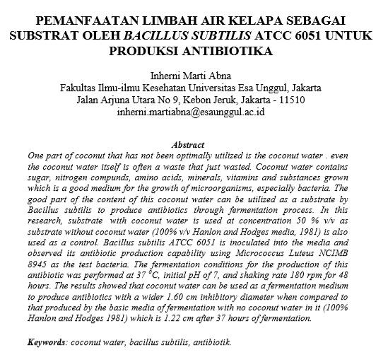 Pemanfaatan Limbah Air Kelapa Sebagai Substrat Oleh Bacillus Subtilis ATCC 6051 Untuk Produksi Antibiotika