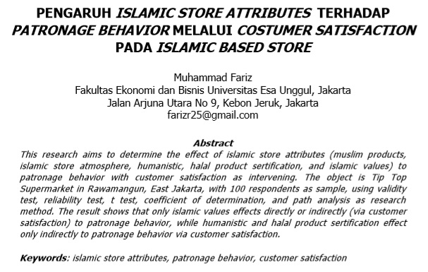Pengaruh Islamic Store Attributes Terhadap Patronage Behavior Melalui Costumer Satisfaction  Pada Islamic Based Store