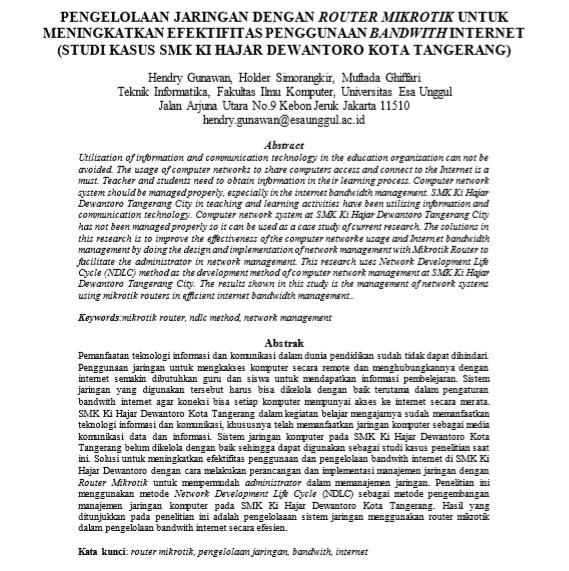 Pengelolaan Jaringan Dengan Router Mikrotik Untuk Meningkatkan Efektifitas Penggunaan Bandwith Internet (Studi Kasus SMK Ki Hajar Dewantoro Kota Tangerang)