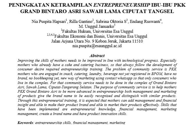 Peningkatan Ketrampilan Entrepreneurship Ibu-Ibu PKK Grand Bintaro Asri Sawah Lama Ciputat Tangsel