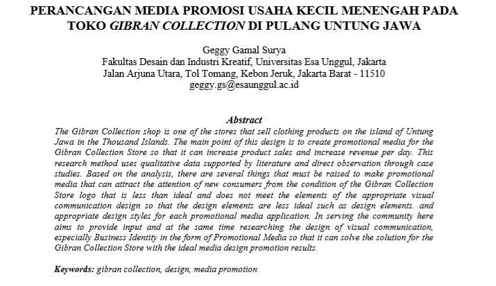 Perancangan Media Promosi Usaha Kecil Menengah Pada Toko Gibran Collection Di Pulang Untung Jawa
