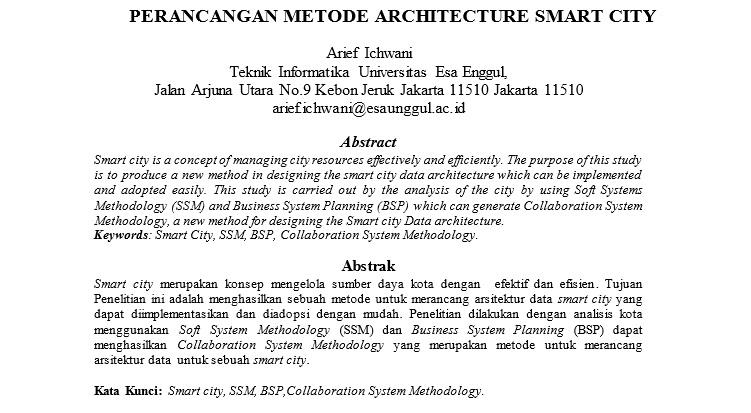 Perancangan Metode Architecture Smart City