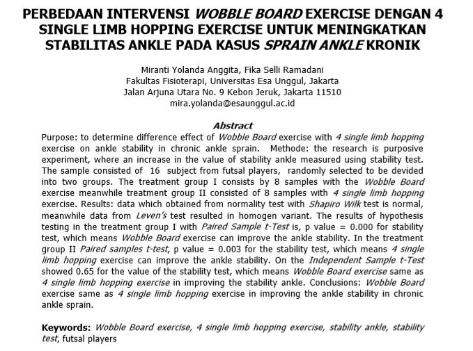 Perbedaan Intervensi Wobble Board Exercise Dengan 4 Single Limb Hopping Exercise Untuk Meningkatkan Stabilitas Ankle Pada Kasus Sprain Ankle Kronik