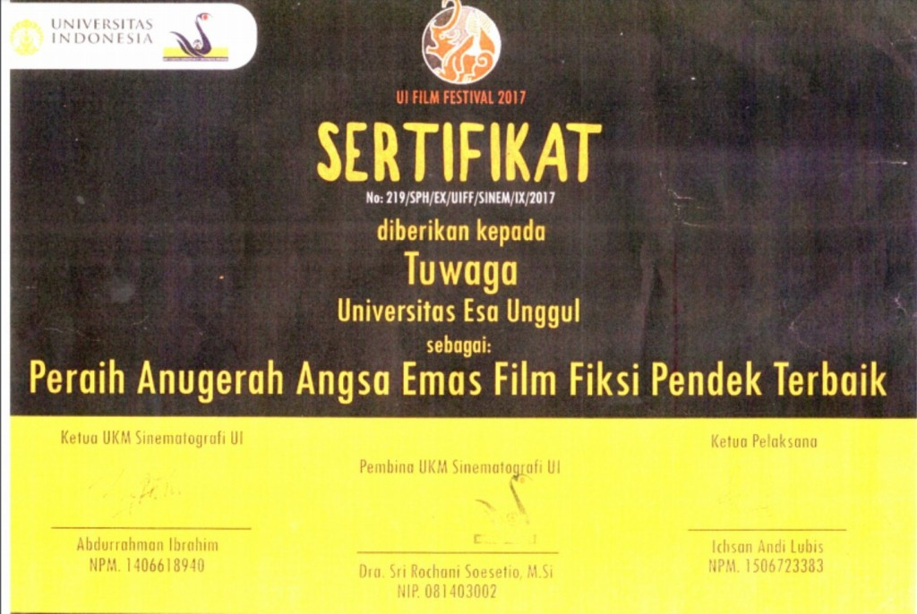 Sertifikat penghargaan Tuwagu sebagai Film Terbaik di ajang UI Film Festival